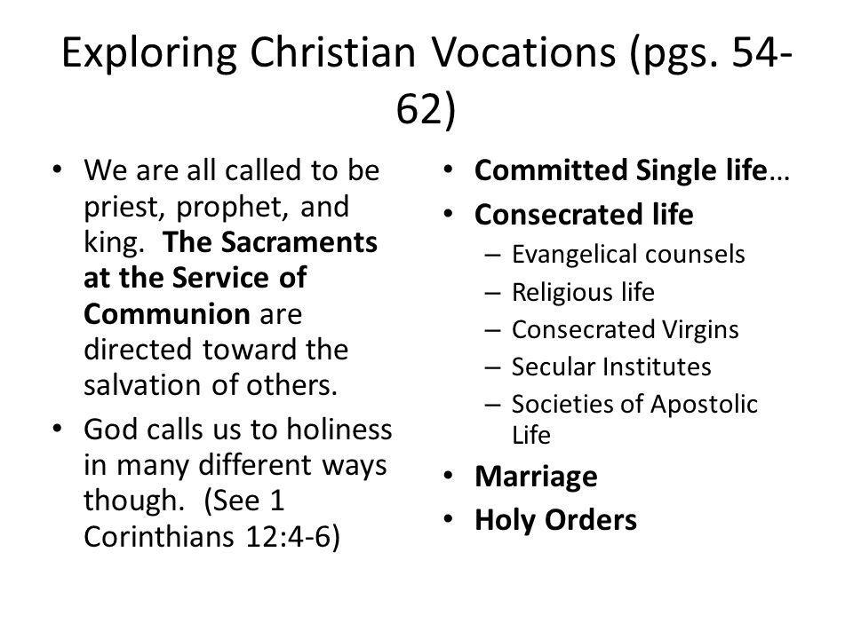Exploring Christian Vocations (pgs. 54-62)