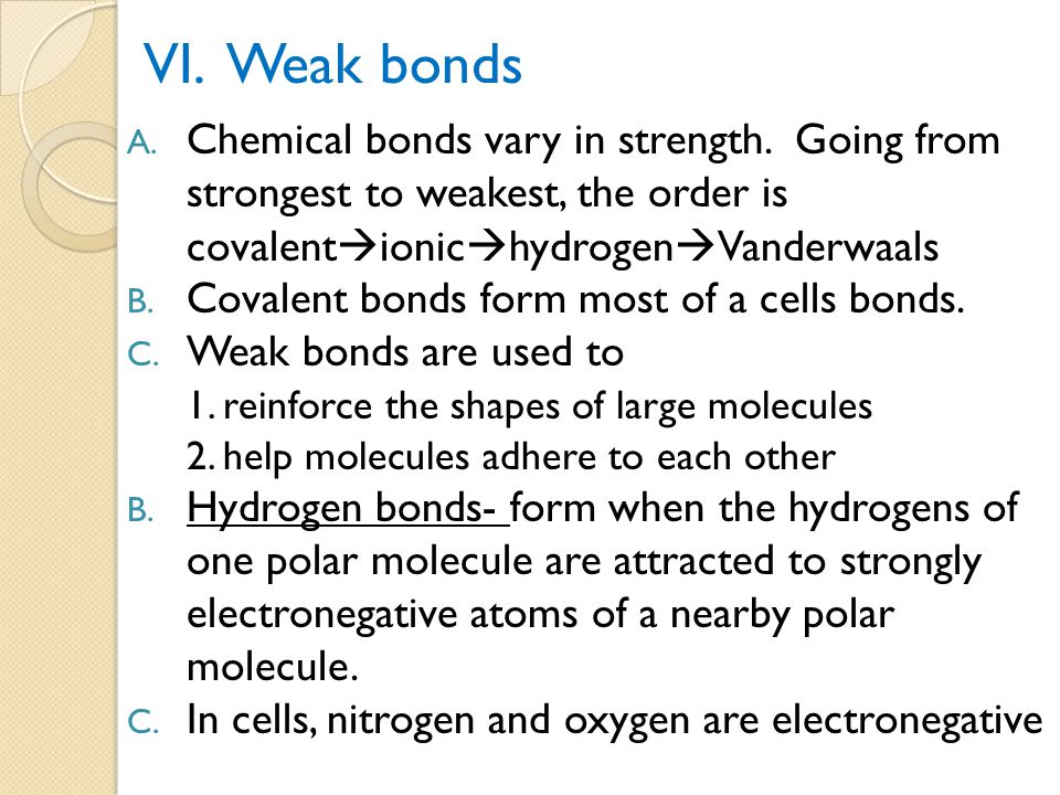 VI. Weak bonds Chemical bonds vary in strength. Going from strongest to weakest, the order is. covalentionichydrogenVanderwaals.