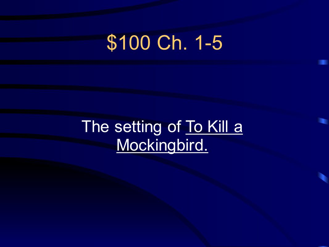 The setting of To Kill a Mockingbird.