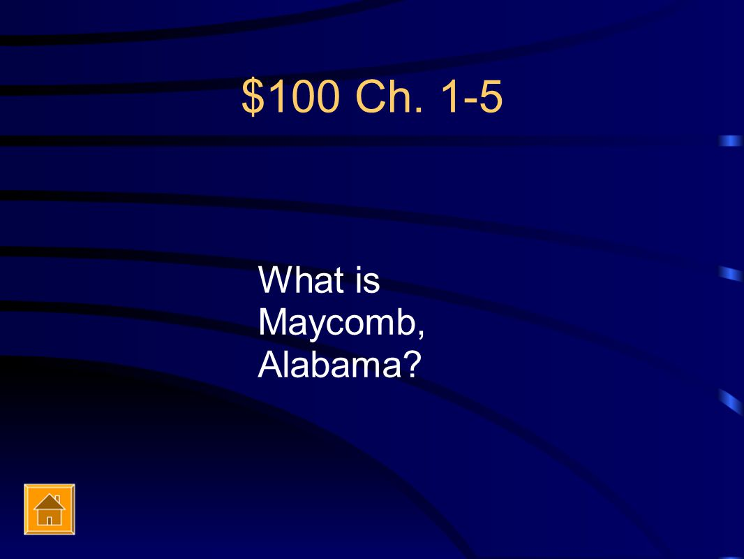 $100 Ch. 1-5 What is Maycomb, Alabama