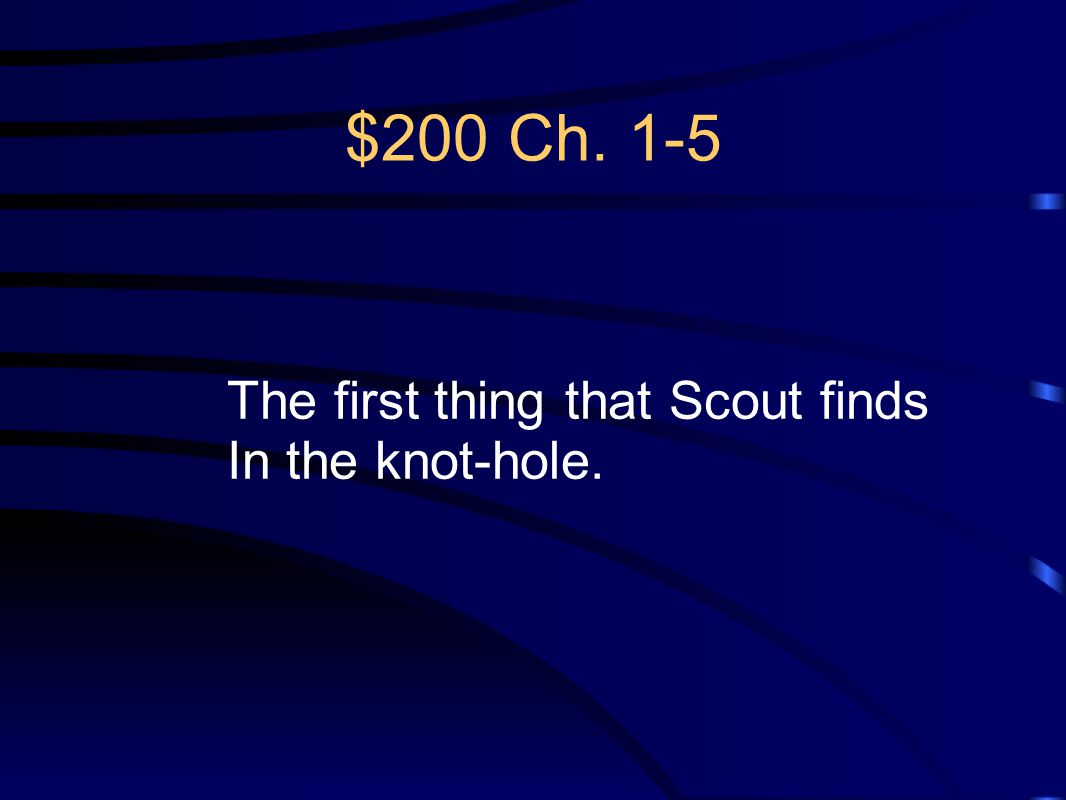 $200 Ch. 1-5 The first thing that Scout finds In the knot-hole.
