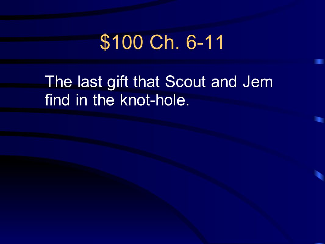 $100 Ch. 6-11 The last gift that Scout and Jem find in the knot-hole.