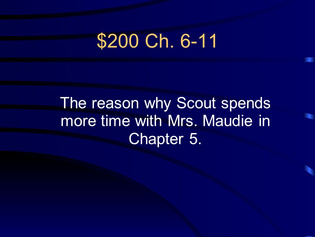 The reason why Scout spends more time with Mrs. Maudie in Chapter 5.