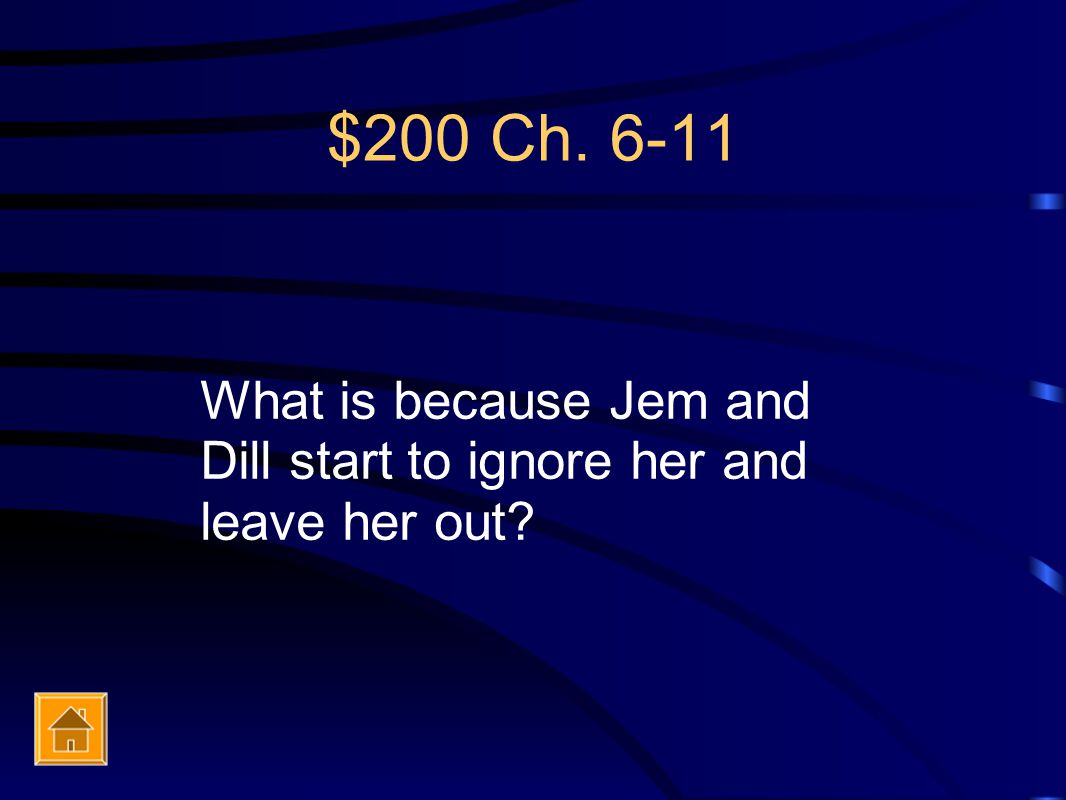 $200 Ch. 6-11 What is because Jem and Dill start to ignore her and leave her out