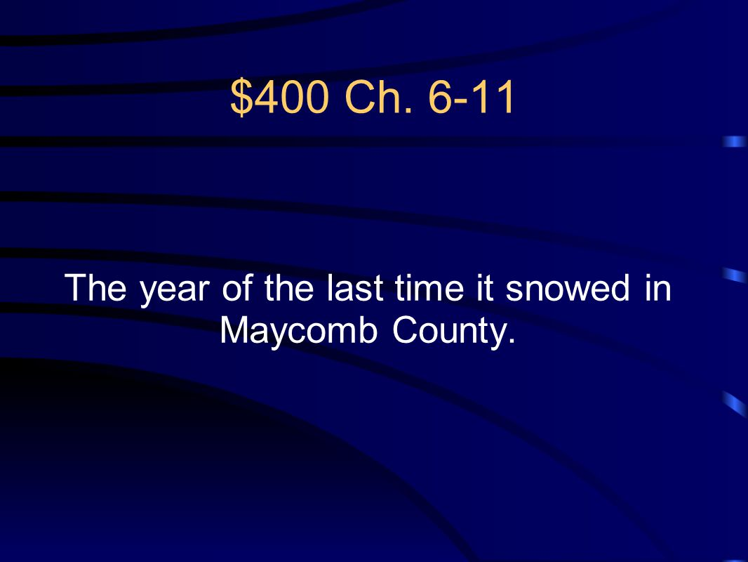 The year of the last time it snowed in Maycomb County.