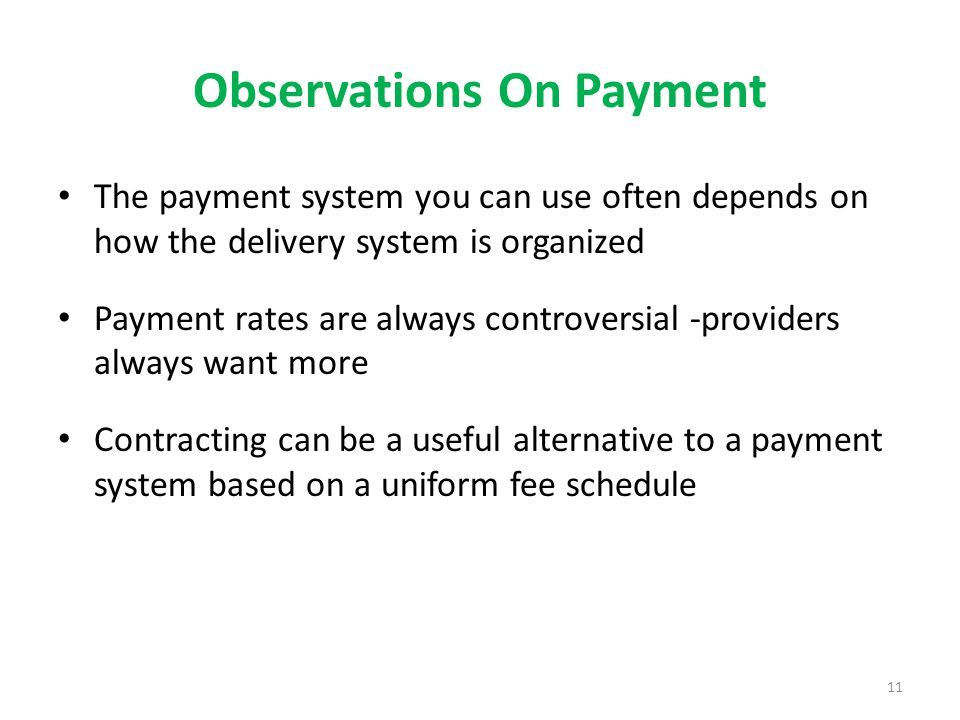 Observations On Payment