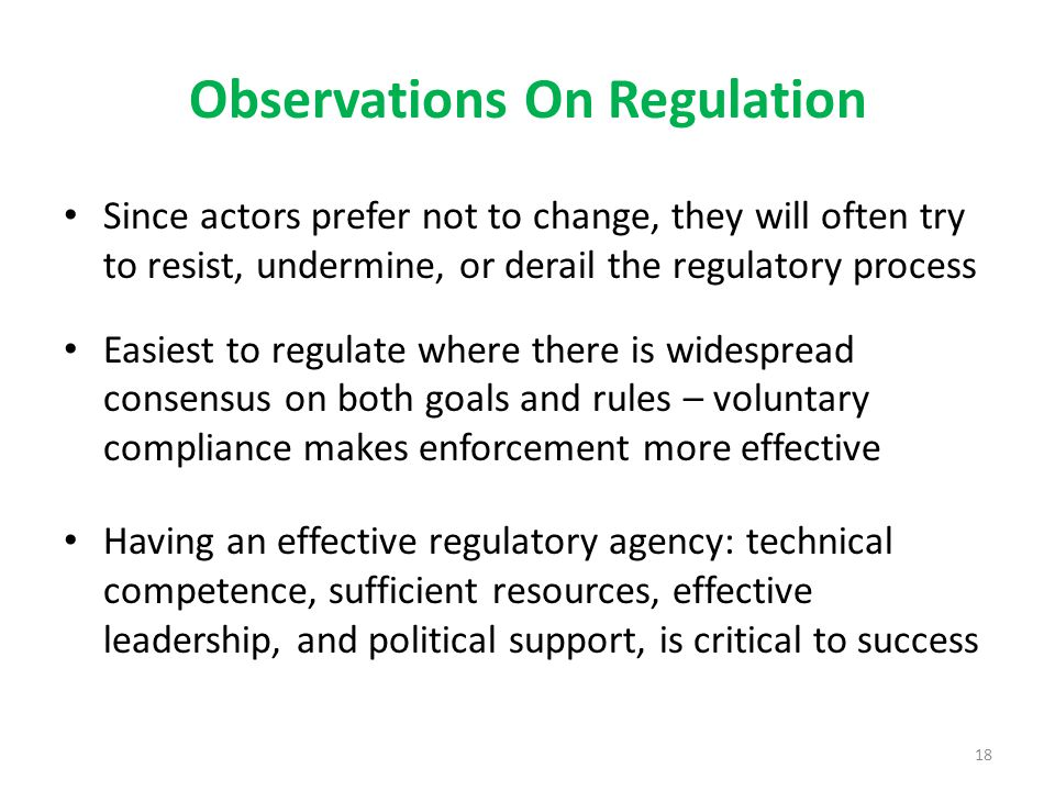 Observations On Regulation