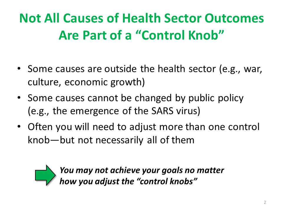 Not All Causes of Health Sector Outcomes Are Part of a Control Knob