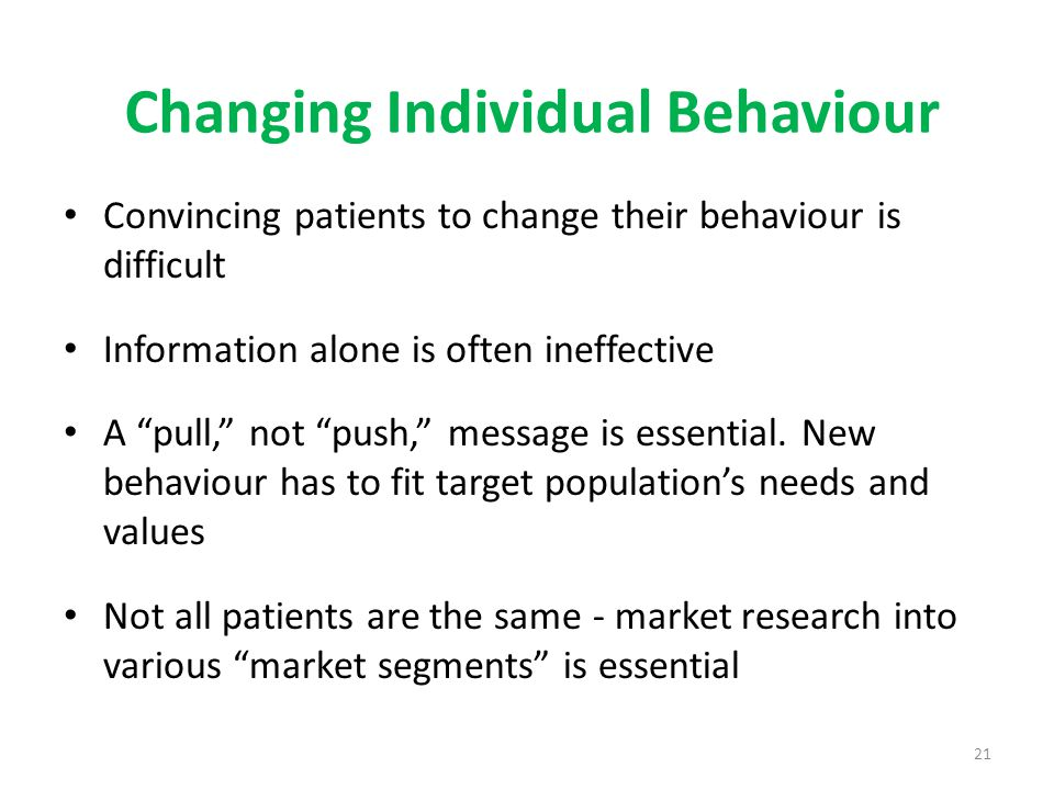 Changing Individual Behaviour