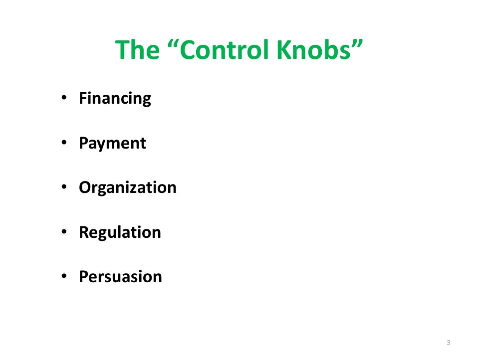 The Control Knobs Financing Payment Organization Regulation