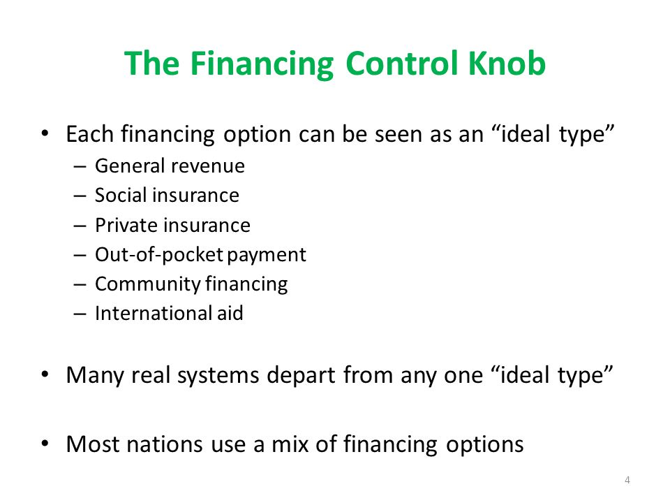 The Financing Control Knob