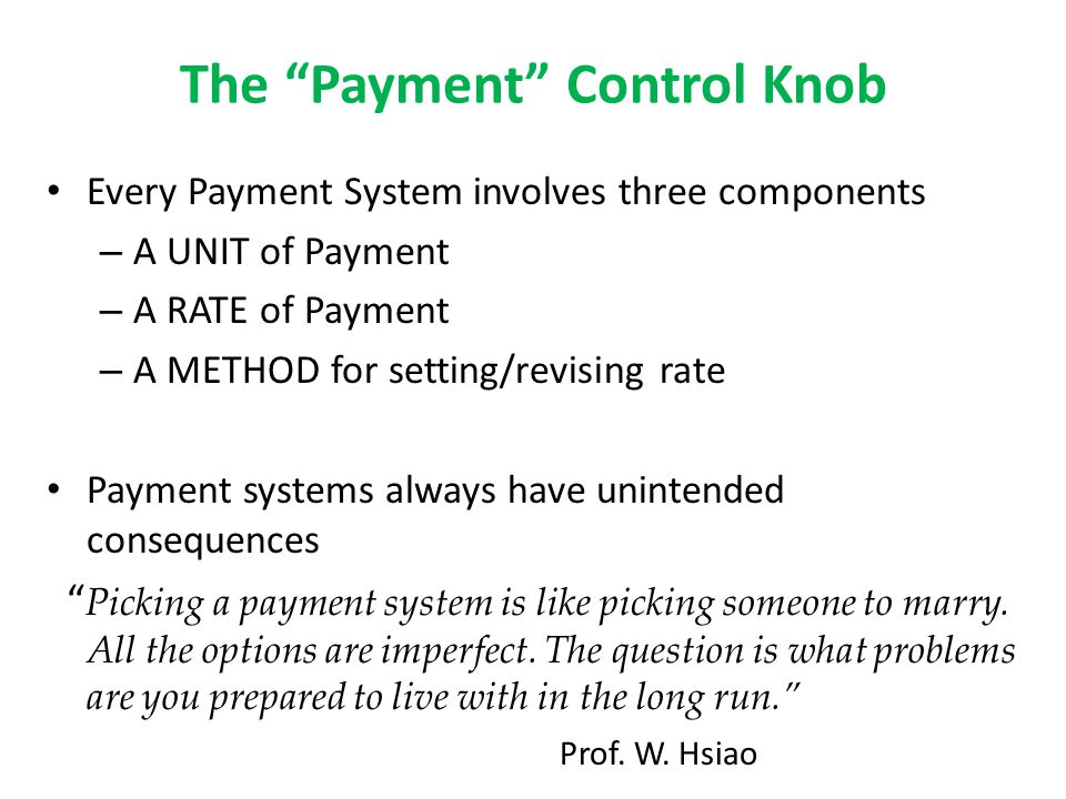 The Payment Control Knob