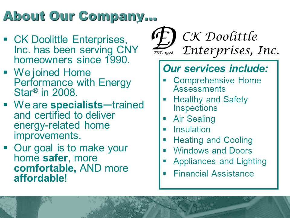 About Our Company… CK Doolittle Enterprises, Inc.