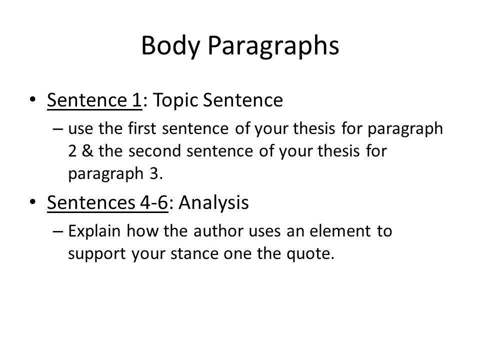 Body Paragraphs Sentence 1: Topic Sentence Sentences 4-6: Analysis