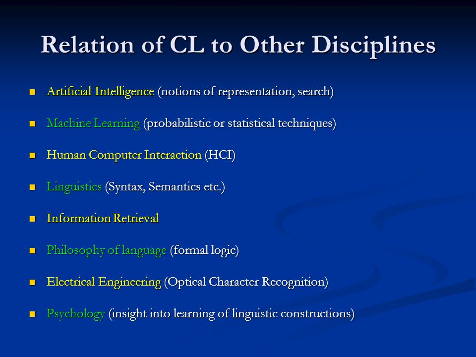 Relation of CL to Other Disciplines