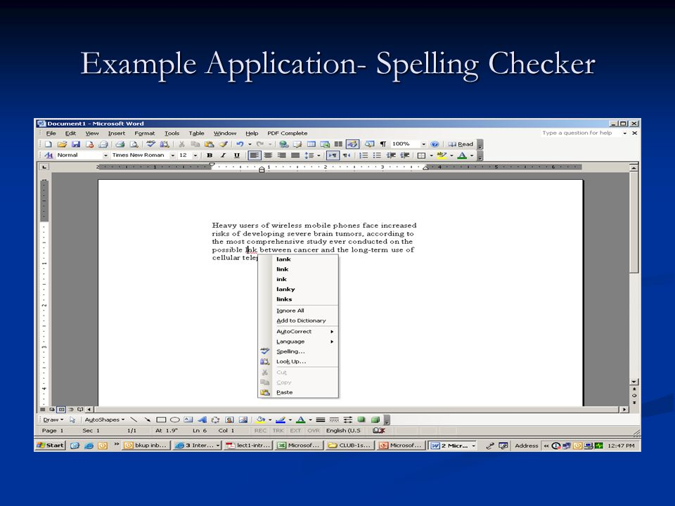 Example Application- Spelling Checker