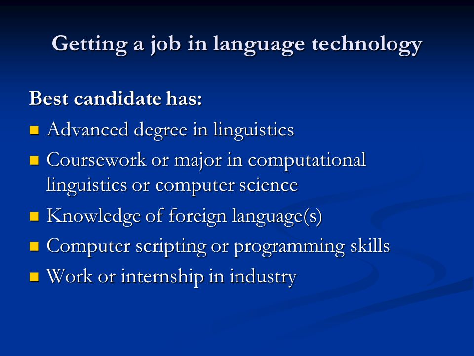 Getting a job in language technology