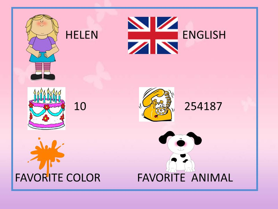 HELEN ENGLISH 10 254187 FAVORITE COLOR FAVORITE ANIMAL
