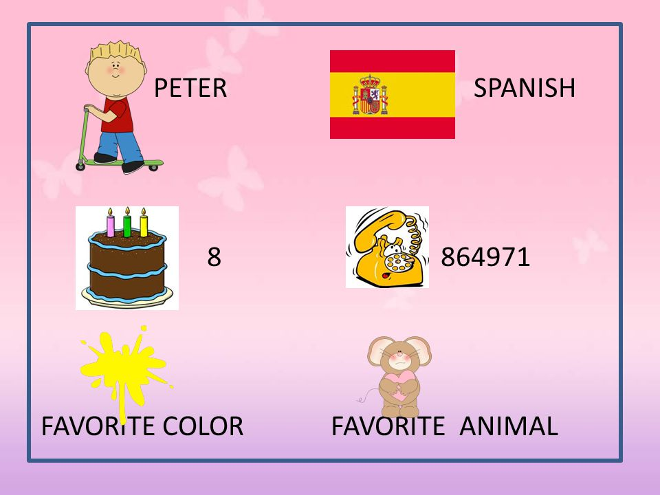 PETER SPANISH 8 864971 FAVORITE COLOR FAVORITE ANIMAL