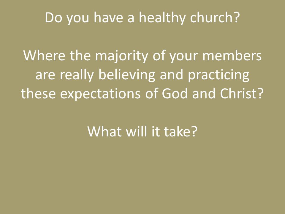 Do you have a healthy church