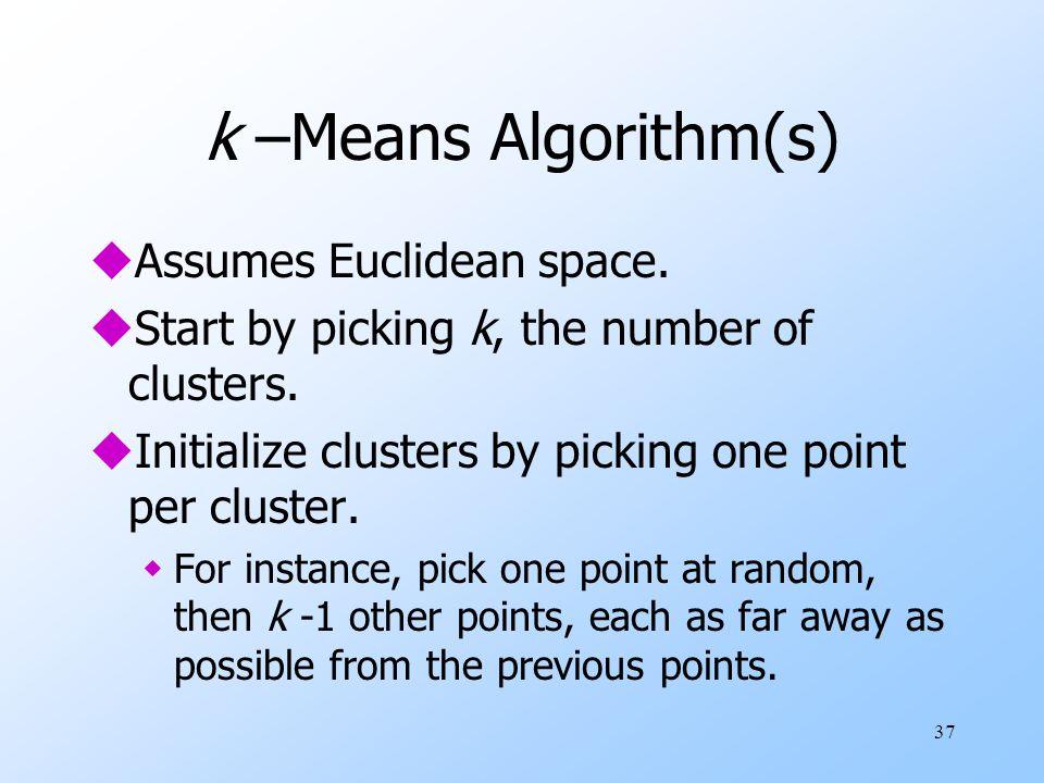 k –Means Algorithm(s) Assumes Euclidean space.