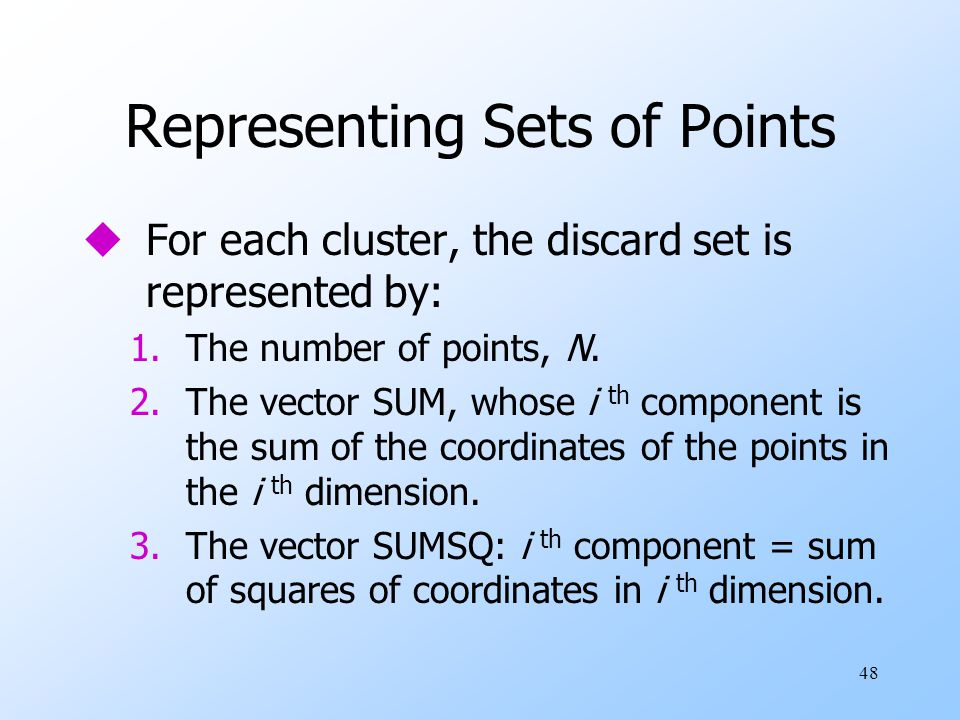 Representing Sets of Points