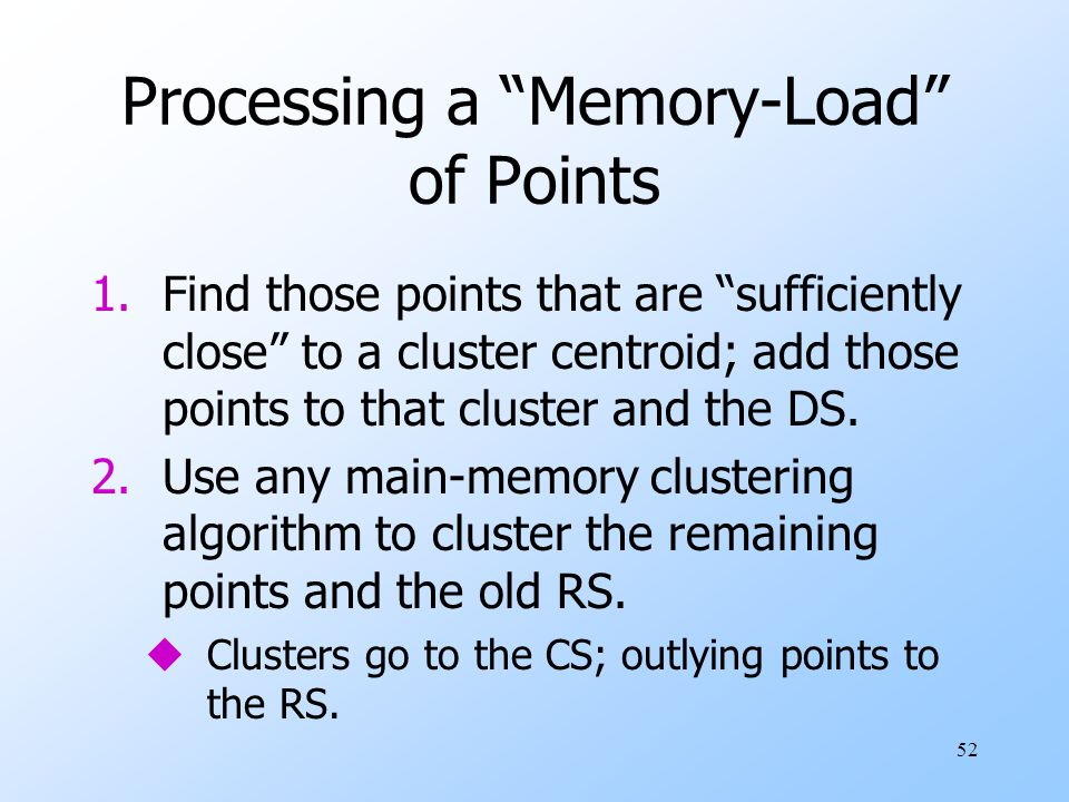 Processing a Memory-Load of Points