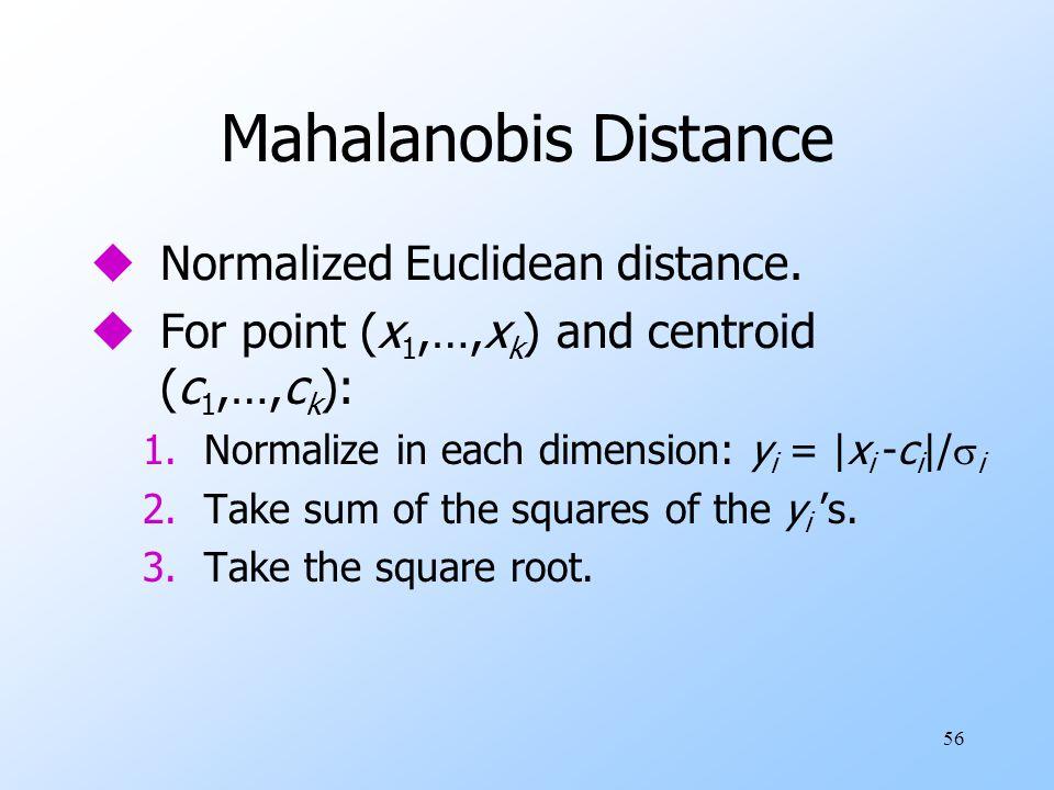 Mahalanobis Distance Normalized Euclidean distance.
