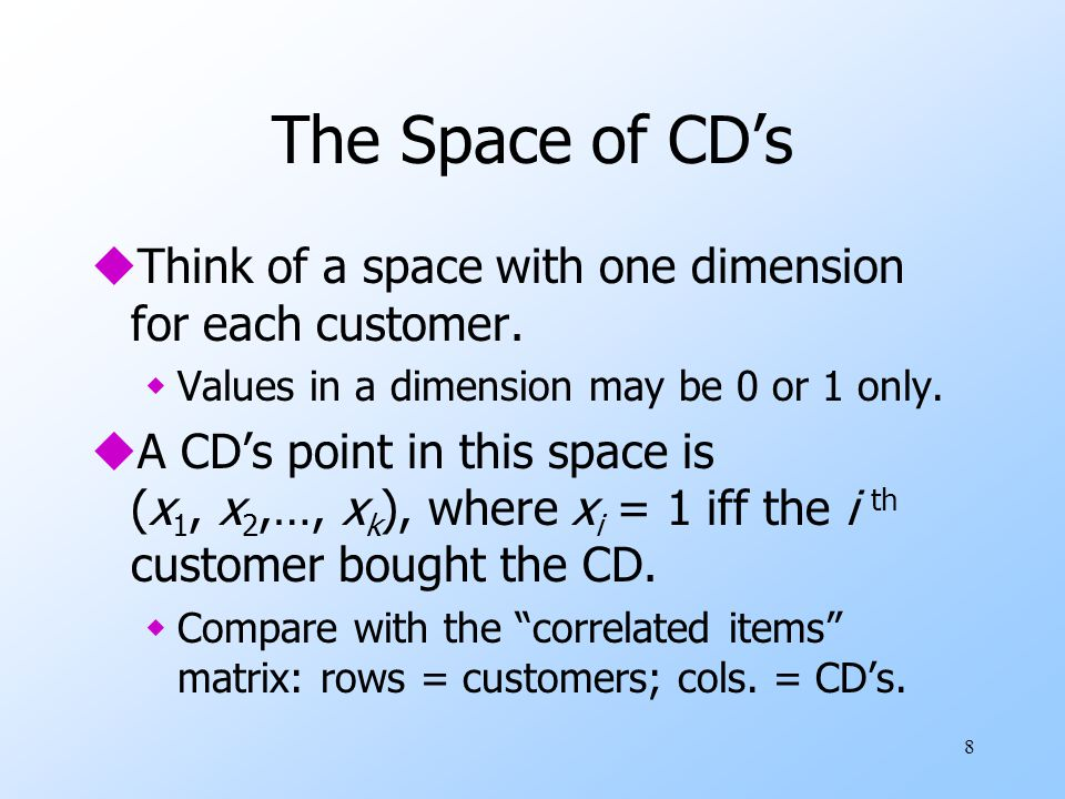 The Space of CD's Think of a space with one dimension for each customer. Values in a dimension may be 0 or 1 only.