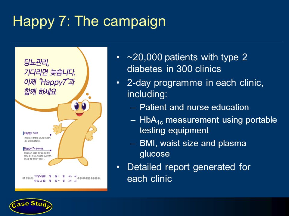 Happy 7: The campaign ~20,000 patients with type 2 diabetes in 300 clinics. 2-day programme in each clinic, including: