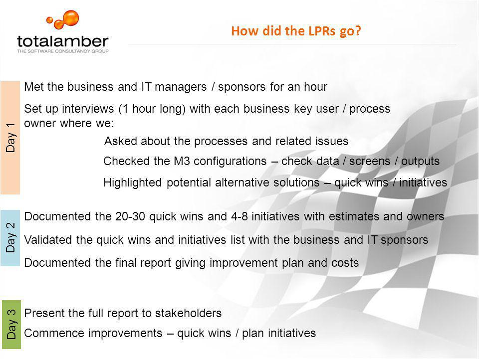 How did the LPRs go Met the business and IT managers / sponsors for an hour.