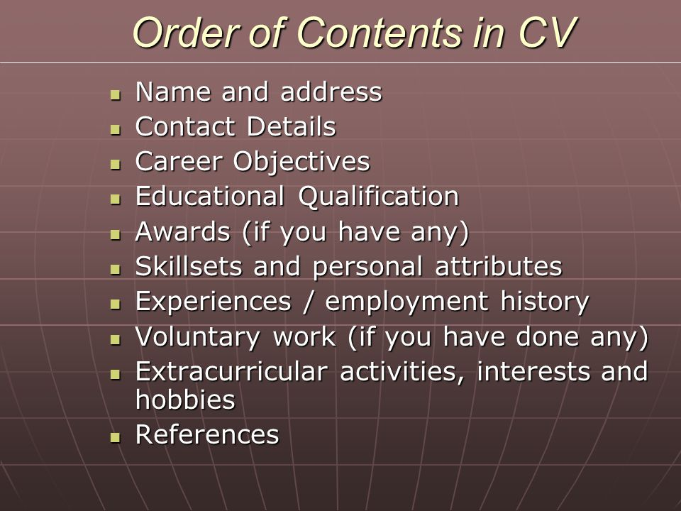 Order of Contents in CV Name and address Contact Details