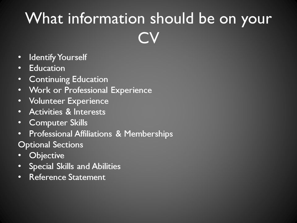 What information should be on your CV