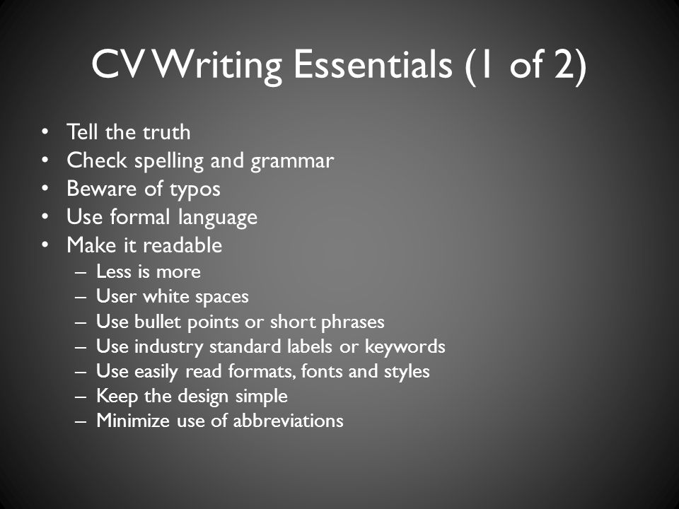 CV Writing Essentials (1 of 2)