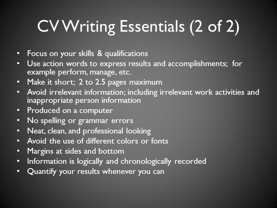 CV Writing Essentials (2 of 2)