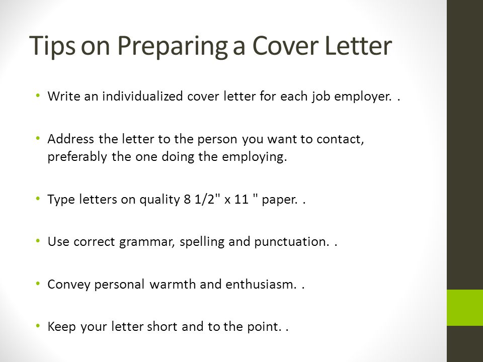 Tips on Preparing a Cover Letter