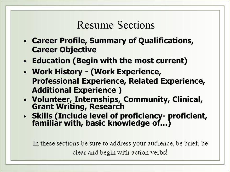 Resume Sections Career Profile, Summary of Qualifications, Career Objective. Education (Begin with the most current)