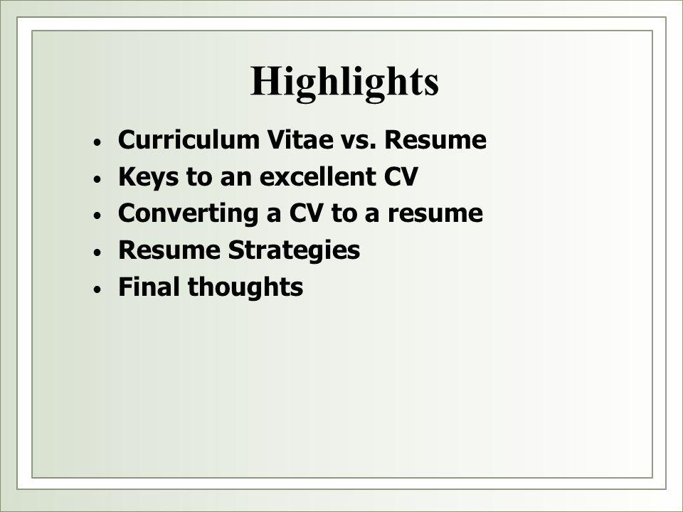 "Resume Vs. Cv"" Presented By: Liz Herrera Assistant Director"