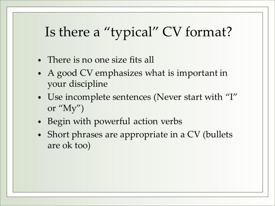 Is there a typical CV format