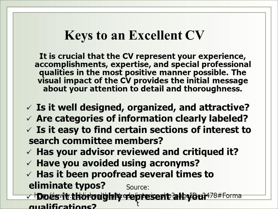 Keys to an Excellent CV