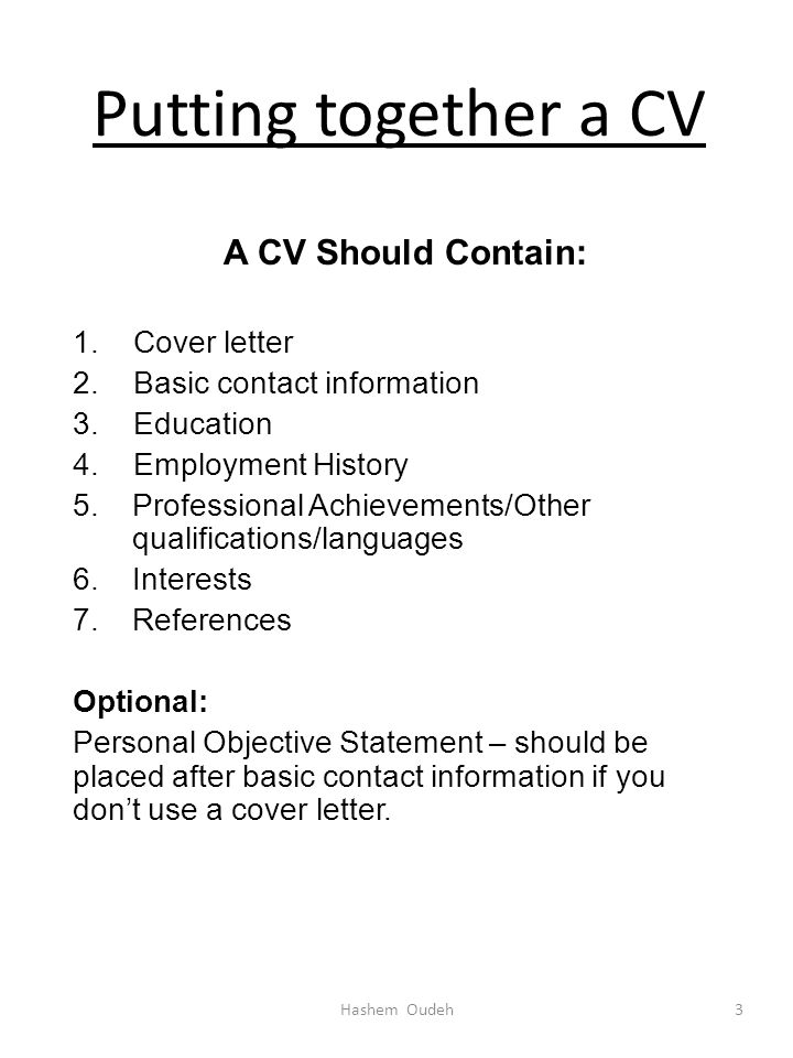WRITING A CURRICULUM VITAE (CV) Hashem Oudeh. - ppt video online ...
