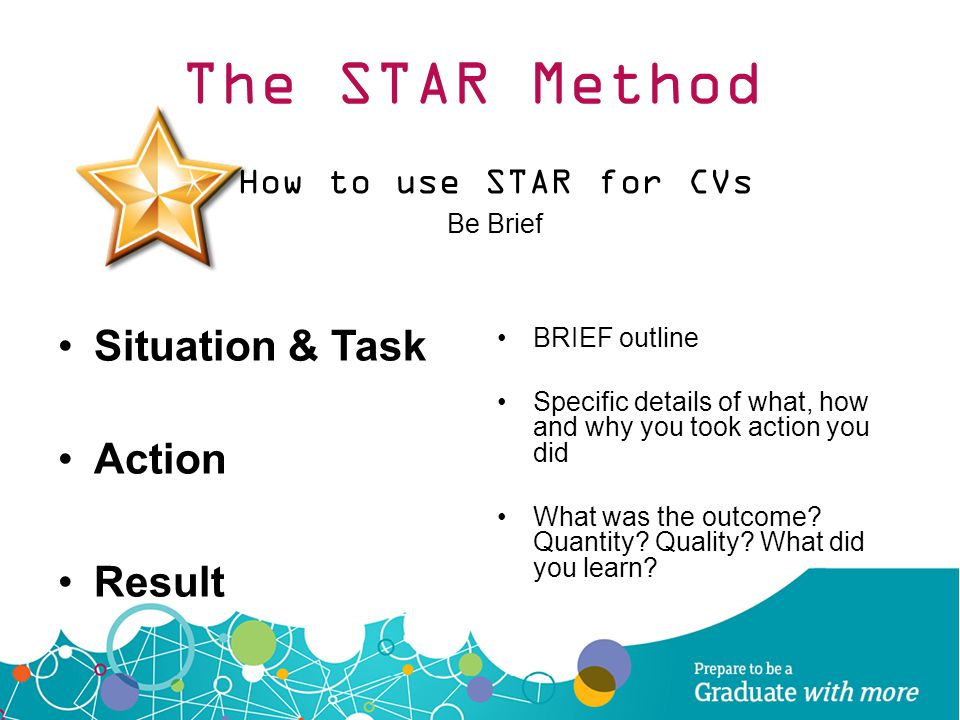 The STAR Method Situation & Task Action Result How to use STAR for CVs