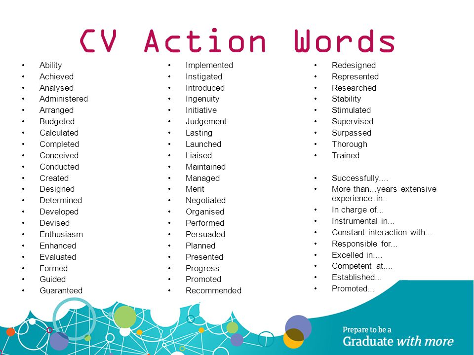 Wonderful 38 CV Action Words ...  Cv Words