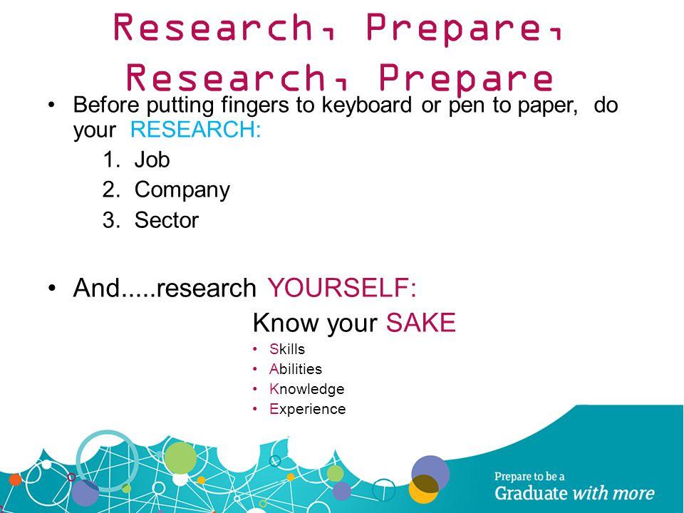 Research, Prepare, Research, Prepare