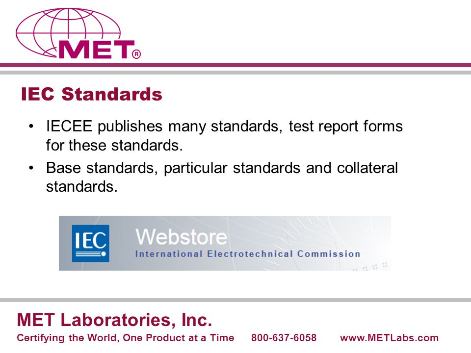 IEC Standards MET Laboratories, Inc.