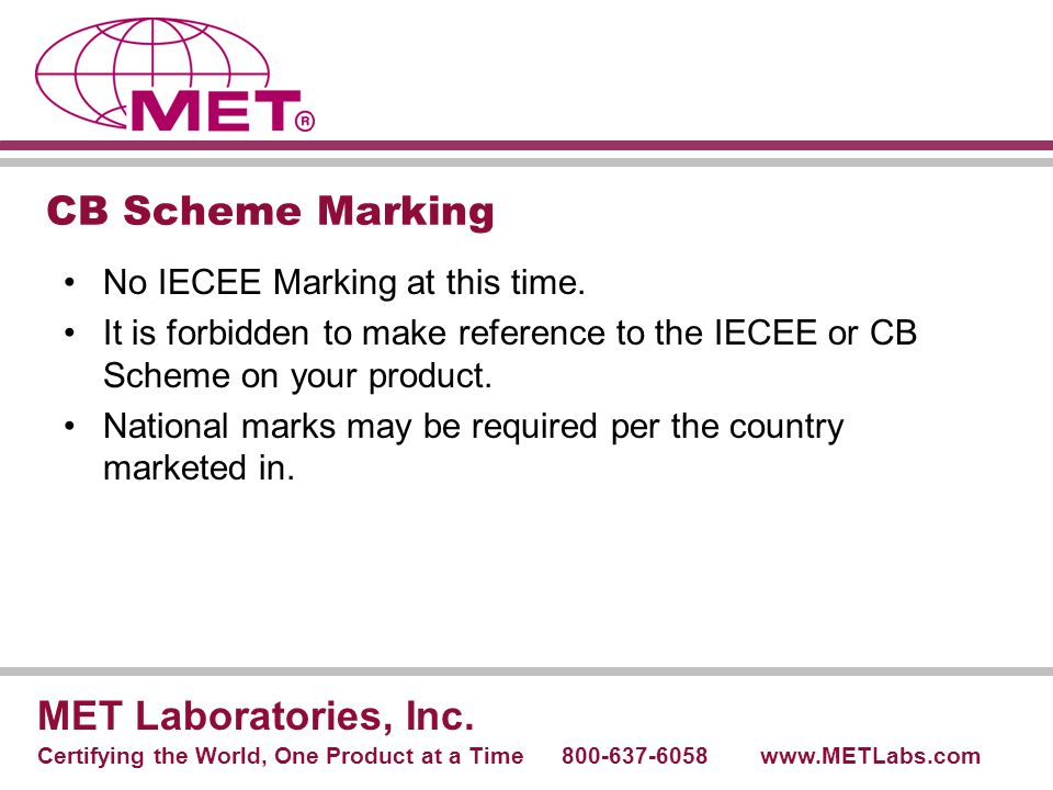 CB Scheme Marking MET Laboratories, Inc.