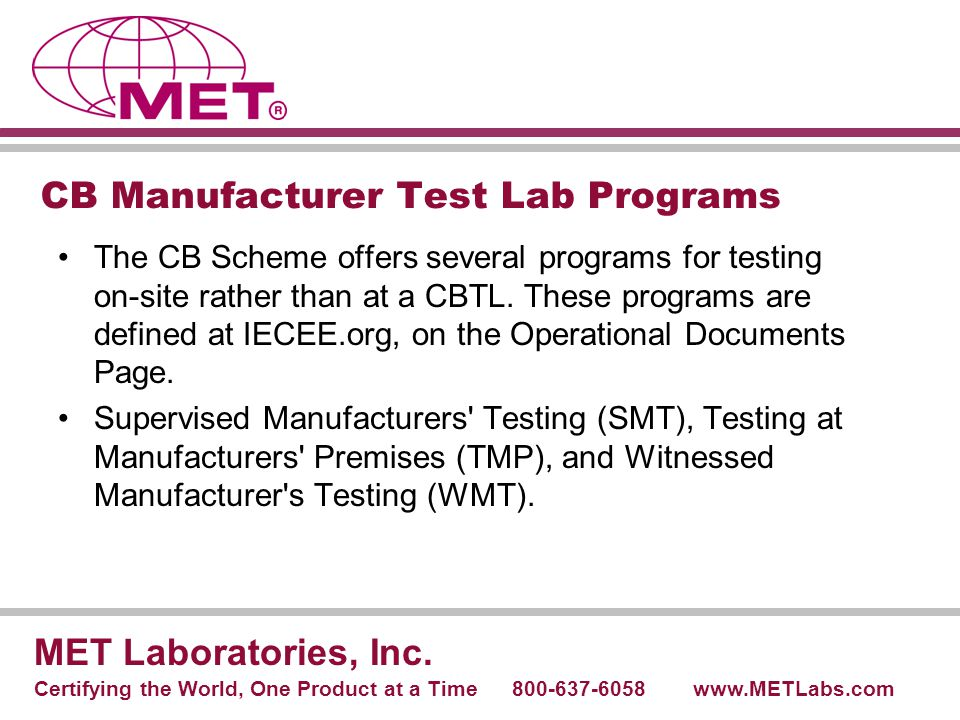 CB Manufacturer Test Lab Programs