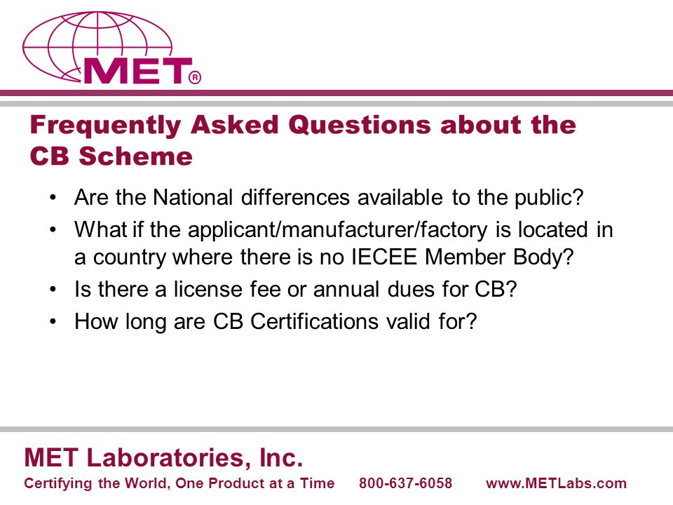 Frequently Asked Questions about the CB Scheme