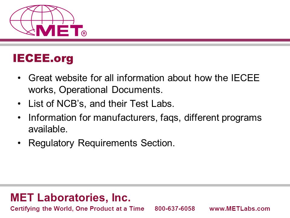 IECEE.org MET Laboratories, Inc.