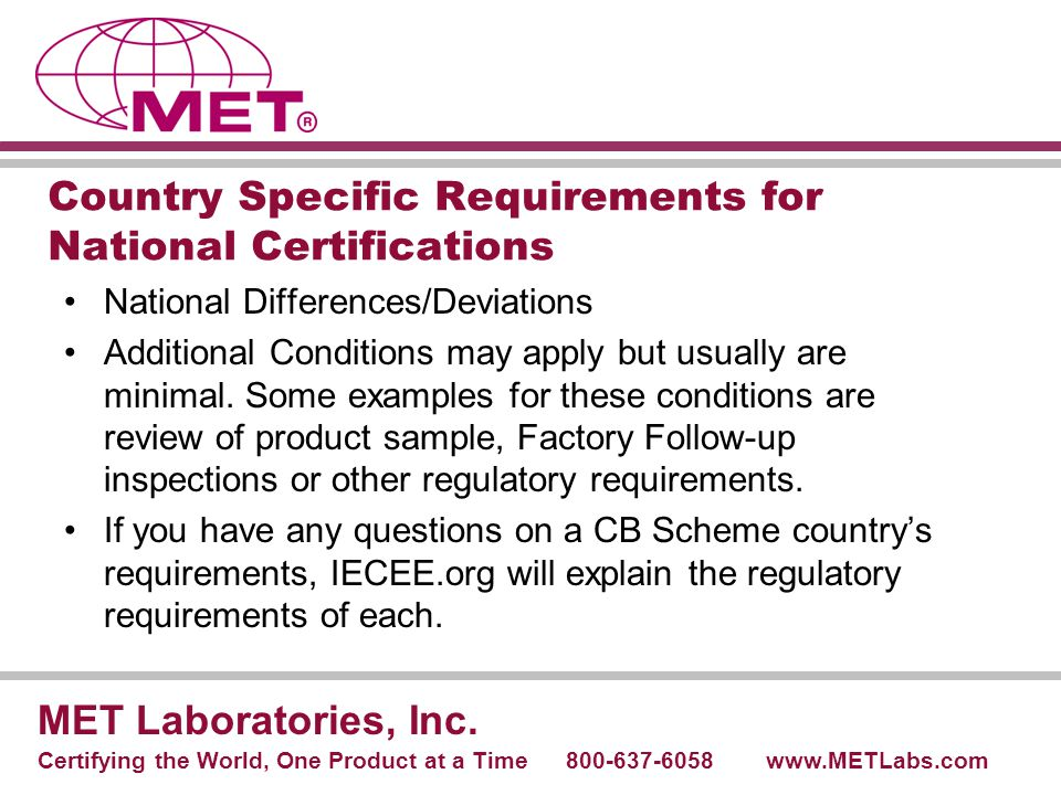 Country Specific Requirements for National Certifications